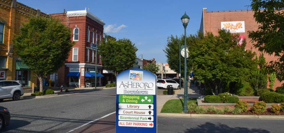 Downtown Asheboro on Sunset Avenue at Bicentennial Parking Lot
