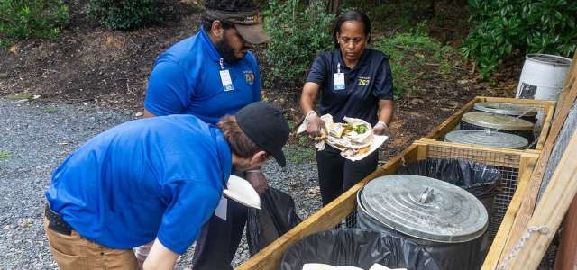 Zoo employees compost restaurant waste at North Carolina Zoo.
