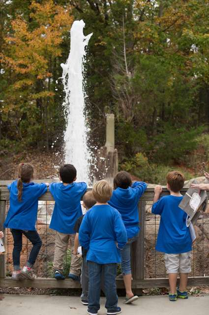 Children on school trip observing the gyser