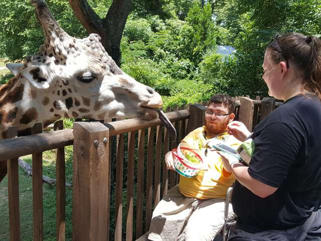 Giraffe deck volunteer helping guest